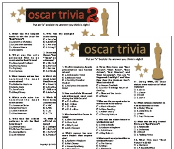 Printable Oscar Trivia pack