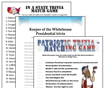 Printable United States trivia games bargain three-pack
