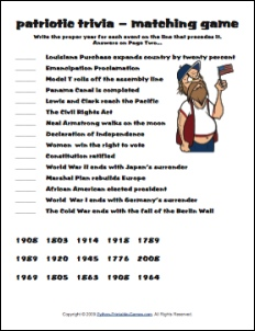 Patriotic trivia American history match game
