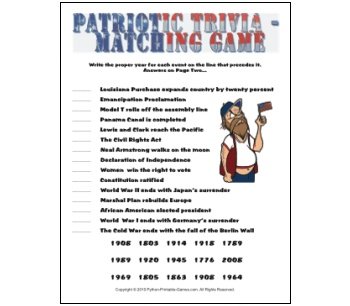 Independence Day Patriotic Trivia game