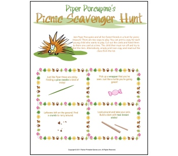 Picnic Games: Kids' Outdoor Scavenger Hunt