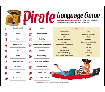 Slumber Party Games: Pirate Language FaceBook Game