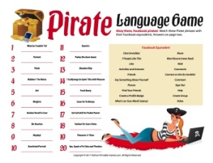 Facebook Pirate Language Game