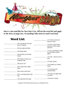 New Years Printable Mad Libs