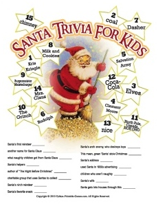Santa Claus Trivia Game For Kids