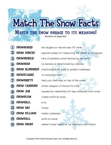 Winter Party Snow Trivia Match Game