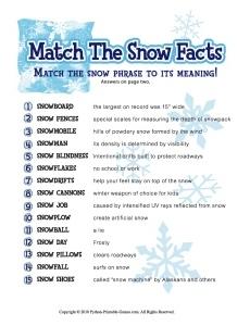Snow Trivia Match Game