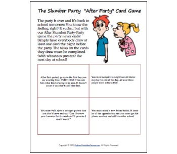 Girl Slumber Party Ideas: After Party Card Game