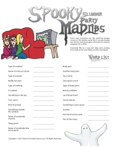 Slumber Party Activities: Spooky, Silly Printable Mad Libs