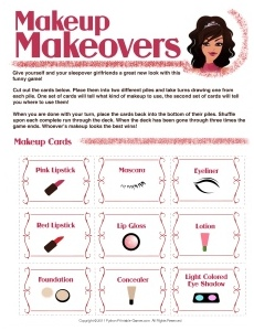Slumber Party Games for Girls: Makeup Madness Card Game