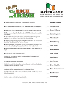 St Patrick's Day Irish Celebrities trivia game