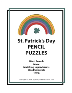 St Patrick's Day printable pencil puzzles pack