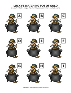 Lucky's Pot of Gold St Patrick's Day Picture Match Game