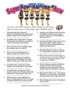 Super Bowl Trivia - Halftime Show Trivia Game