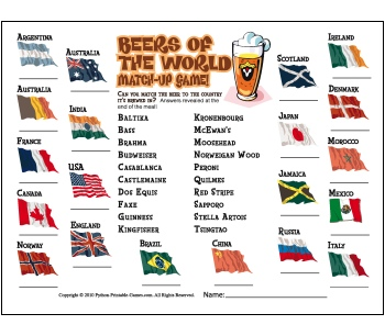 Super Bowl activities: Printable Beers of the World Trivia placemats!