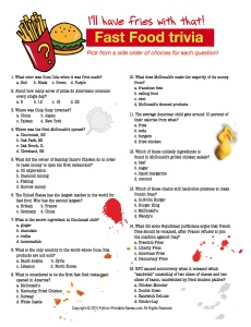 Super Bowl party game: Fast Food Trivia
