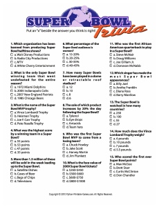 Super Bowl facts printable trivia game