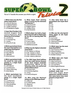 Super Bowl trivia answers printable trivia game
