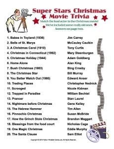Super Stars Christmas Movie trivia