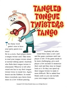 Tangled Tongue Twisters Adult Birthday Game
