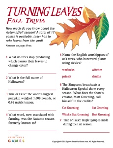 Turning Leaves Fall Trivia game
