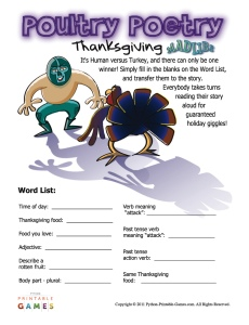Thanksgiving Mad Libs Food Fight!