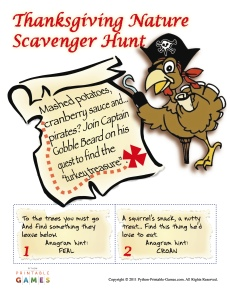 Backyard Thanksgiving Scavenger Hunt