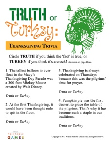 Thanksgiving Truth or Turkey? Trivia