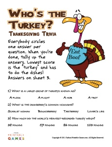Who's The Turkey? Thanksgiving Trivia Game