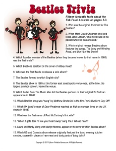 60th Birthday Game: The Beatles Trivia