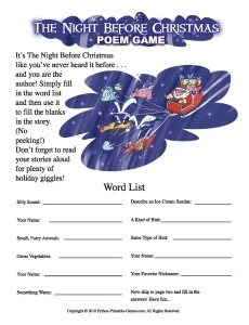 The Night Before Christmas mad libs game