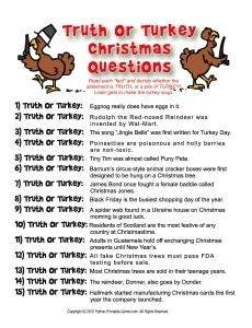 Truth or Turkey True or False Trivia For Christmas