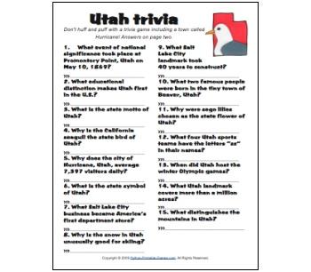 Utah Trivia game