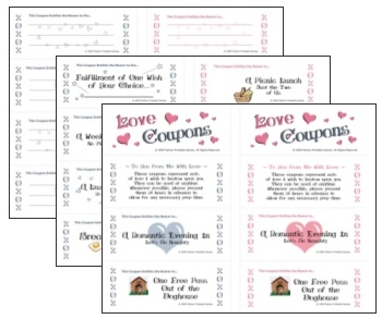 Printable Romantic Coupons for Valentine's Day