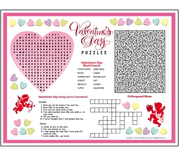 Valentine's Day Puzzle Games Placemat