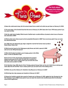 Printable Valentines Party Games: Valentine's Day Trivia game