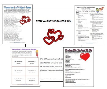 Schön Valentineu0027s Day Printable Games Bundle · Printable Valentines Party Games:  Valentine Teen Party Games Bundle! Four Great Games For Just