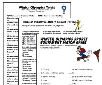 Winter Olympic Trivia Printable Party Games Collection