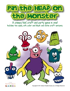 Pin The Head On The Monster game for kids