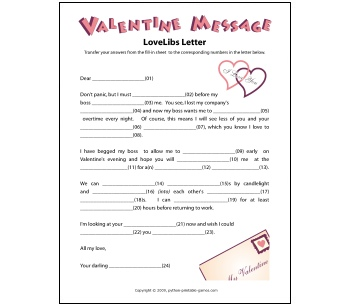 Valentine Party Games on Write Your Ending With Printable Mad Libs For Valentine S Day