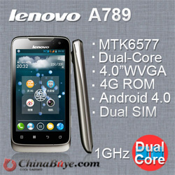 Lenovo A789 MTK 6577 Dual-core Cortex-A9 1.0GHz Android4.0 GPS dual camera 5.0MP 4 inch smartphone is the new arrival best MTK 6577 solution android phone, the upgrade version of Lenovo A750. Pushed out by the TOP 500 international company LENOVO. with th