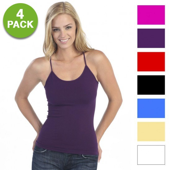 4-Pack Ladies Lycra Long Tank Top Camisoles Was: $49.99 Now: $9.99 and Free Shipping.
