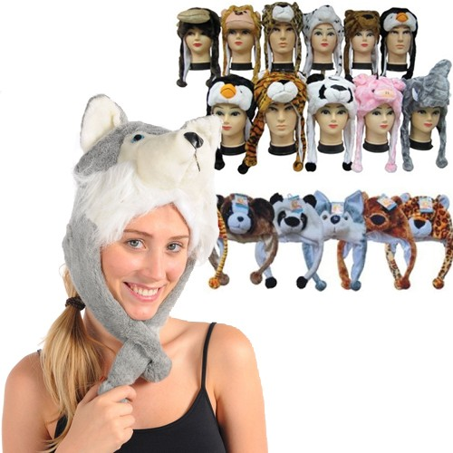 Unisex Plush Animal Hats with Ear Warmers Was: $29.99 Now: $4.49 and Free Shipping.
