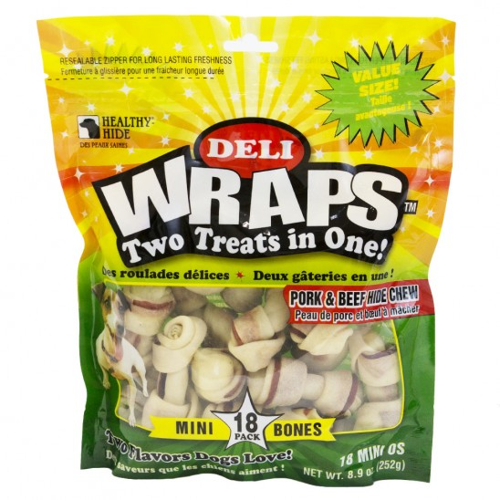 18-Pack: Healthy Hide Deli Wraps Pork and Beef Mini Dog Treat Bones for $8.99.