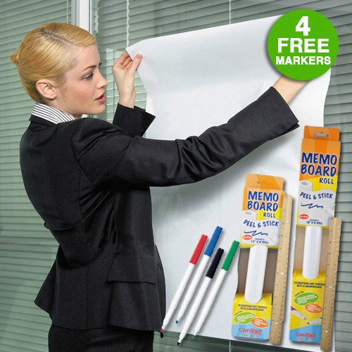 Contact Adhesive Dry Erase Memo Board Peel and Stick Roll with 4 Markers Was: $24.99 Now: $5.99 and Free Shipping.