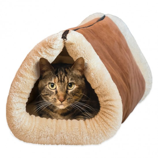 2-in-1 Cozy Cat Tunnel and Bed with Self-Heating Interior for $16.99.