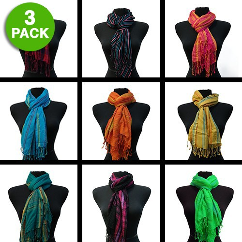 3-pack Amtal Multicolored Striped Fashion Scarves 100% Viscose Was: $39.99 Now: $7.99 and Free Shipping.