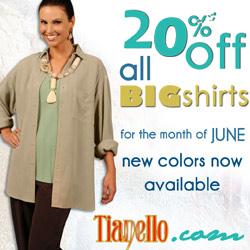 20% Off All Tencel Big Shirts at Tianello