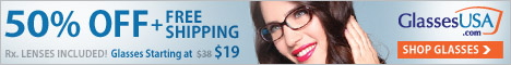 All eyeglasses: 50% off plus free shipping with code SPECIAL50