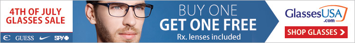 July 4 Eyeglasses Sale: Buy One Get One Free + Free Shipping! Use code 4THBOGO